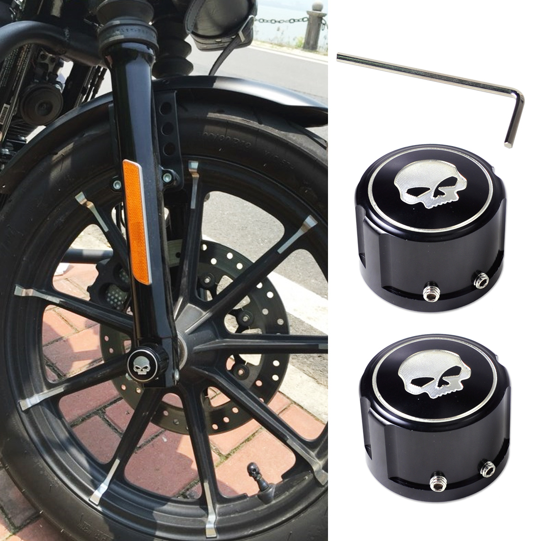 DWCX 2pcs Black Skull Aluminum Front Axle Nut Cover Bolt Kit for Harley-Davidson Touring Softail Dyna XG XL VRSC 2008 2009 2010+