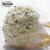 Kyunovia Nupcial Do Casamento Bouquet PE Subiu Buquês de Flores Artificiais Decoração De Casamento Da Dama de honra Buquê de Flores de Cristal Pérola