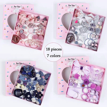 1 Set = 18 PCS New Kids Children Accessories Hairpins Barrettes Baby Fabric Bow Flower Headwear Hair clips Girls Headdress