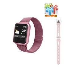 P68 часы + ремень/комплект IP68 браслет для занятий спортом женщин смарт-браслет сердечного ритма активности браслет «Умные» часы совместимый для iphone 6 8