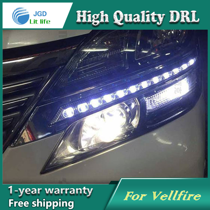 Free shipping !12V 6000k LED DRL Daytime running light case for Toyota Vellfire 2013-2015 fog lamp frame Fog light Car styling