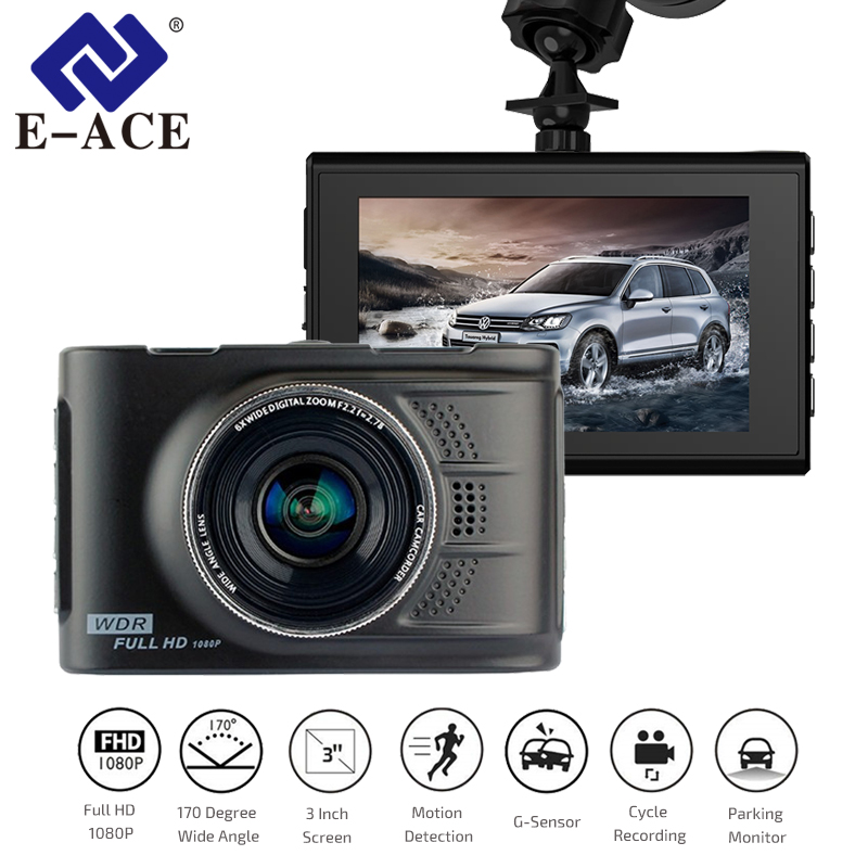 E-ACE Car Dvrs Mini Camera Novatek 96223 Dash Cam 3.0 Inch Full HD 1080P Auto Registrator Digital Video Recorder Camcorder e ace car dvr original novatek 96223 mini camera full hd 1080p digital video recorder dash camcorder auto registrator dashcam