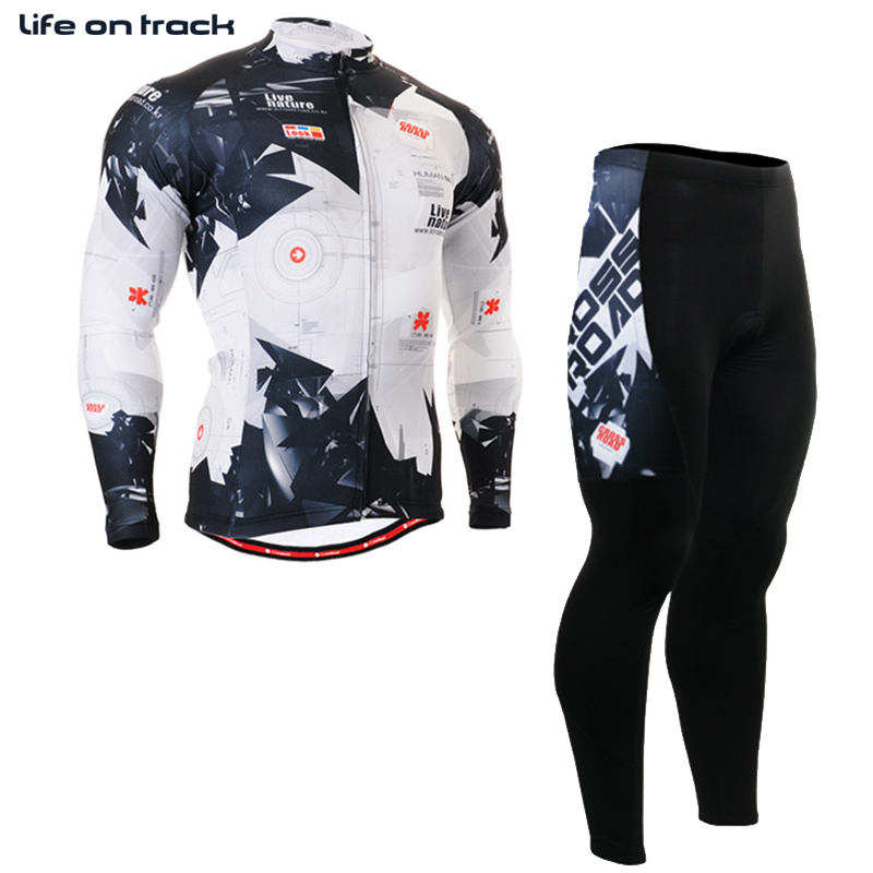 Long Sleeve Bicycle Cycling Fitness Skins Compresshion Jersey Black White Color Men Mountain Biking Tops & Bottom Strava Jersey