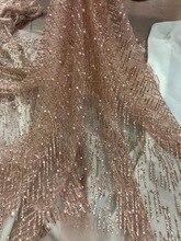 Chất lượng cao JIANXI.C 52511 Pháp Phi net tulle Vải Ren cho tiệc Hot bán beaded dán glitter sequins ren vải