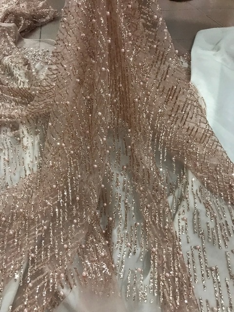 C-52511 African French net tulle Lace Fabric for party Hot selling beaded glued  glitter sequins lace fabric 5a5fb6b75de5