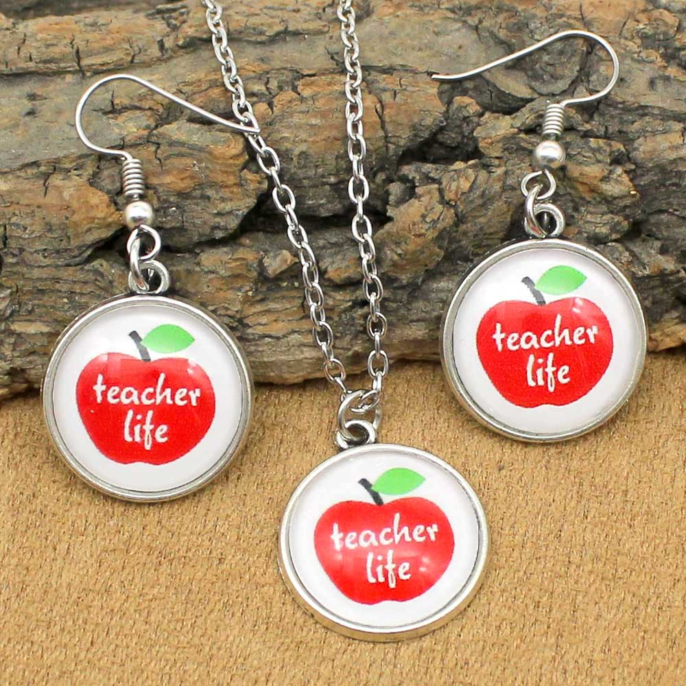 Jewelry-Sets Necklace Teacher Apple Girls Glass Life Cabochon Trendy Women
