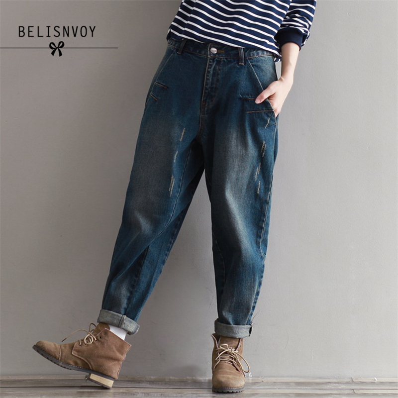 2019 Autumn Winter 3XL Plus Size   Jeans   Women Harem Pants Casual Trousers Denim Pants Fashion Loose Vintage Harem Boyfriend   Jeans