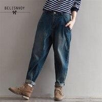 2019 Autumn Winter 3XL Plus Size Jeans Women Harem Pants Casual Trousers Denim Pants Fashion Loose Vintage Harem Boyfriend Jeans