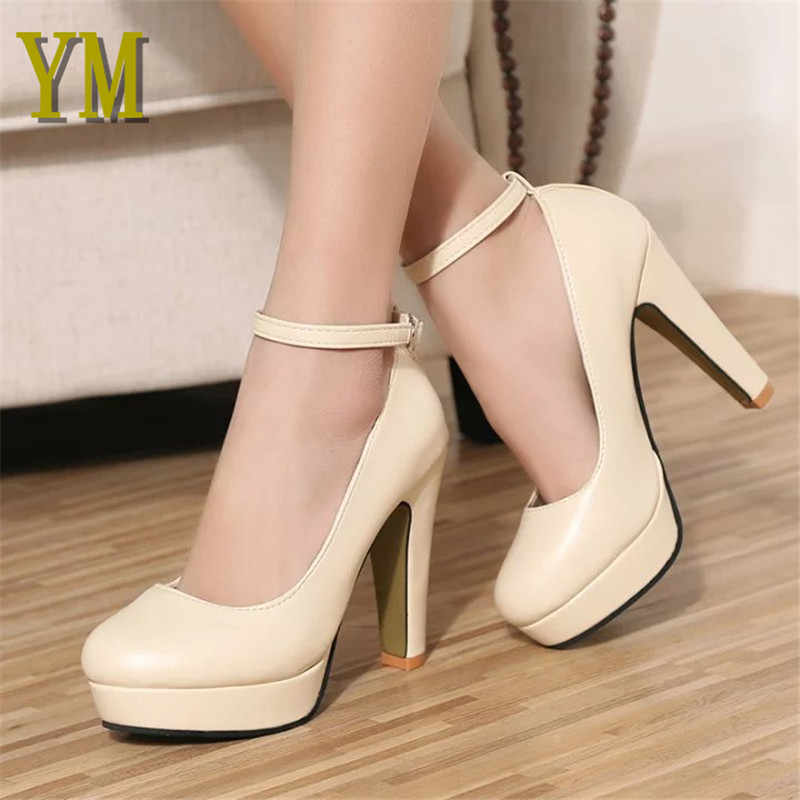 2018 Spring Autumn Women Pumps PU Zapatos Mujer Wedding Shoes Woman Ladies  Buckle Strap Gladiator High f01a9fea20ce