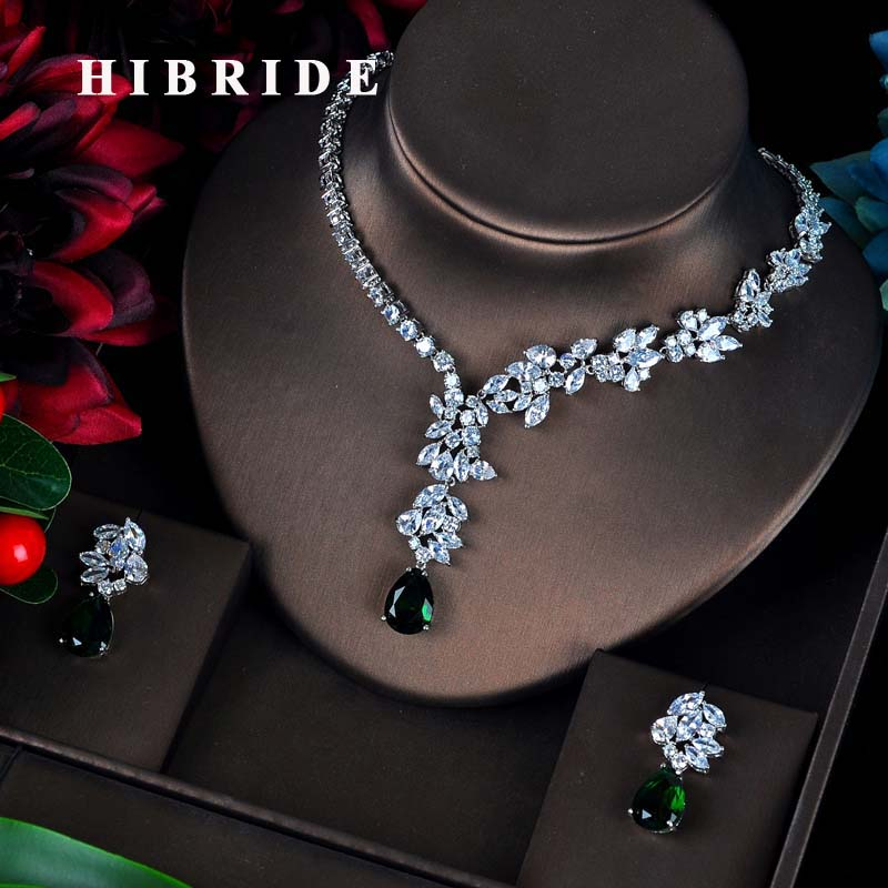 HIBRIDE Fashion Green CZ Jewelry Sets For Women Flower Design  Necklace Earrings Bijoux Set Party Wedding Gift Wholesale N 595Jewelry  Sets