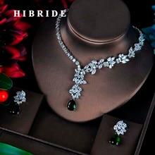 HIBRIDE Moda Yeşil CZ Takı Setleri Kadınlar Için Çiçek Tasarım Kolye Küpe Bijoux Seti Parti Düğün Hediyesi Toptan N 595