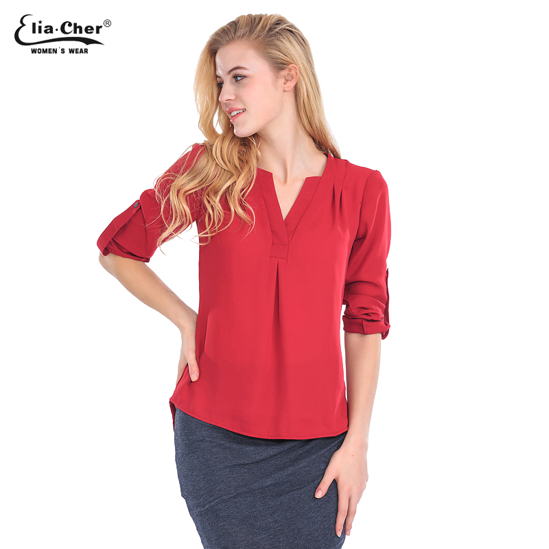 Women blouse tops full sleeve brand chiffon blouses shirts for Top dress shirt brands