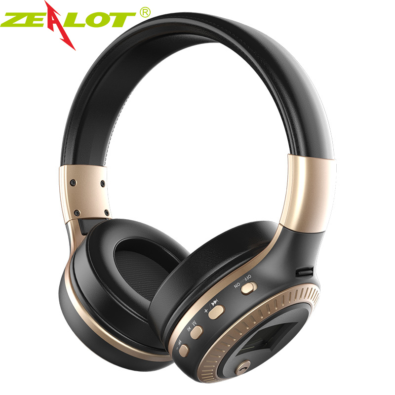 Zealot Headphones Earphones B19 Wireless Bluetooth Stereo Bass with microphone TF slot Radio LCD for Phone xiaomi Headset mi zealot b570 headset lcd foldable on ear wireless stereo bluetooth v4 0 headphones with fm radio tf card mp3 for smart phone