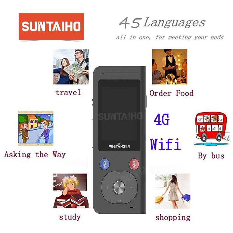 aprendizaje conversor de voz en tiempo real de voz port/átil con WiFi T8s-Negro int/érprete simult/áneo para viajes Dispositivo de traducci/ón de idiomas negocios