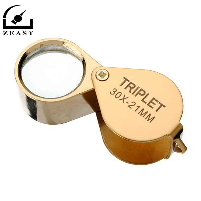 30x 30x21mm Magnifier Jewelers Gold Eye Tool Jewellery Folding Loupe Glass Lens Magnifying Triplet Glass Jewelry Diamond