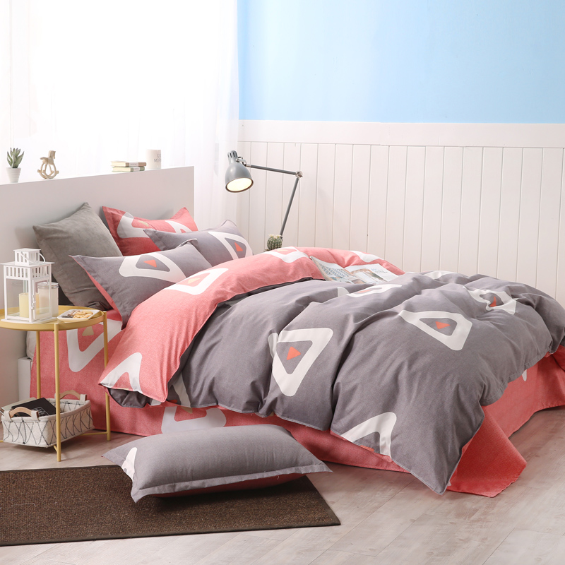 bedding set Autumn style duvet cover queen king Nordic style bedding bed linen grey flat sheet blue bedclothes super king bed48