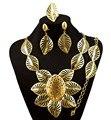 Sistemas de la joyería de oro de joyería de moda al por mayor africano diseño grande para la boda y del partido collar de sistemas de la joyería fina