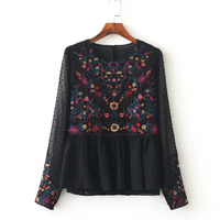 2017 Floral Embroidery Women Blouses O Neck Long Sleeve Black Shirts Plus Size Seersucker Chiffon Blouse