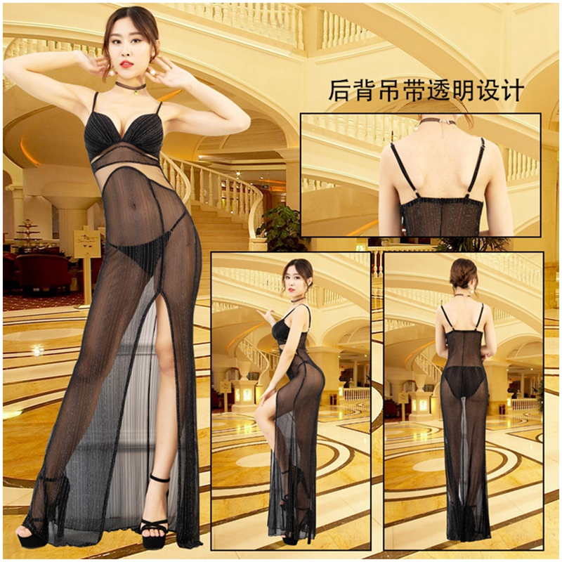 Sexy Black Mesh See Through Fit And Flare Dress Backless Porno Evening Transparent Maxi Dress Deep V Split Hem Erotic Dresses in Dresses from Women 39 s Clothing