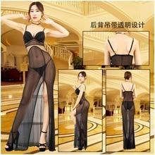 Sexy Black Mesh See Through Fit And Flare Dress Backless Porno Evening Transparent Maxi Dress Deep V Split Hem Erotic Dresses