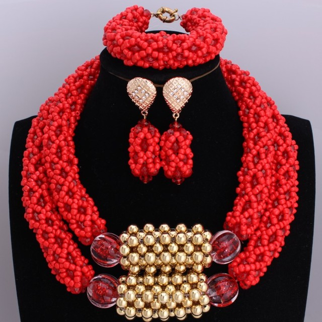 Girl Earrings Necklaces Jewelry Set Bright Red Dubai Indian Wedding Acrylic Beads Jewelry Set Christmas Gifts Free Shipping
