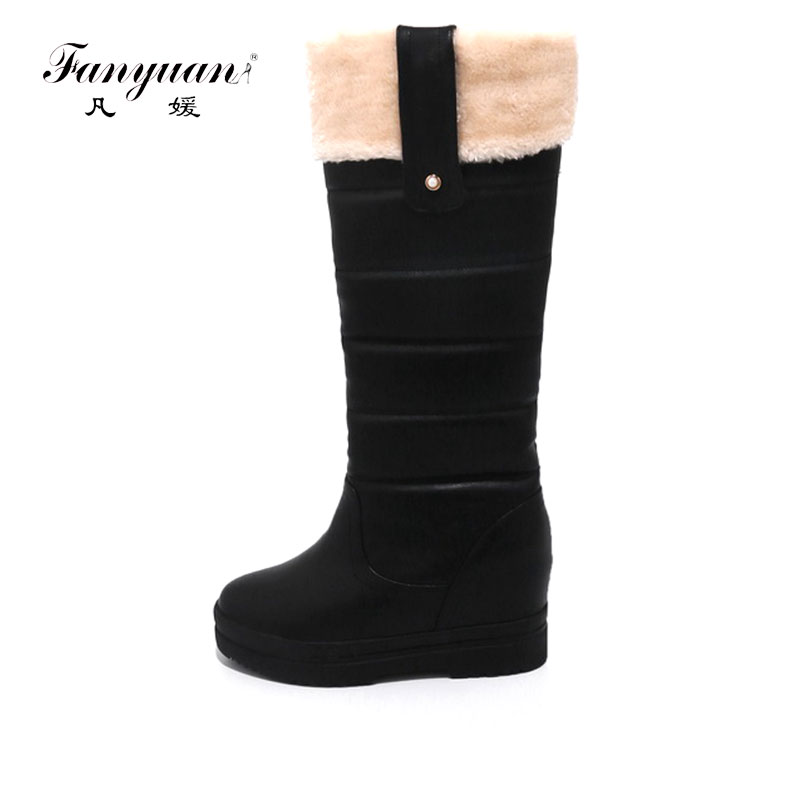 Fanyuan 2017 women winter knee high boots Warm Fur winter snow Long boots popular round toe slip-on shoes high quality doratasia big size 34 43 women half knee high boots vintage flat heels warm winter fur shoes round toe platform snow boots
