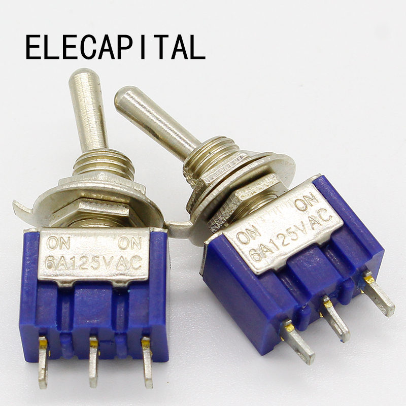 цена на 5pcs/lot Mini MTS-102 3-Pin G107 SPDT ON-ON 6A 125V 3A250VAC Toggle Switches Good Quality Free Shipping