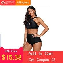 HYCOOL Plus Size Swimwear Women Swimsuit 2018 New Bikinis High Waist Bathing Suits Print Retro Floral Bikini Set Swim Wear 5XL