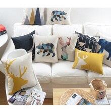 Nordic decorativo de almohadas cojines cojín almohada geométrica amarillo geometricos cojines decorativos sofá coussin geometrique ciervos