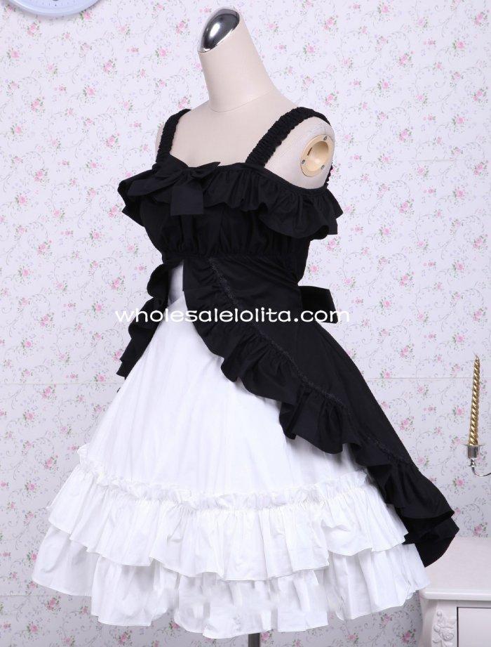 7b559437e1fb5 القطن ثلاث طبقات الانحناء فستان أبيض وأسود كلاسيكي لوليتا اللباس القوطية  لوليتا الكرة ثوب جميع الحجم للبيع حزب فساتين