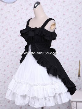 Cotton Three-Layers Bows Black And White Classic Lolita Dress  Gothic Dress Lolita  Ball Gown All SIze For Sale Party Dresses