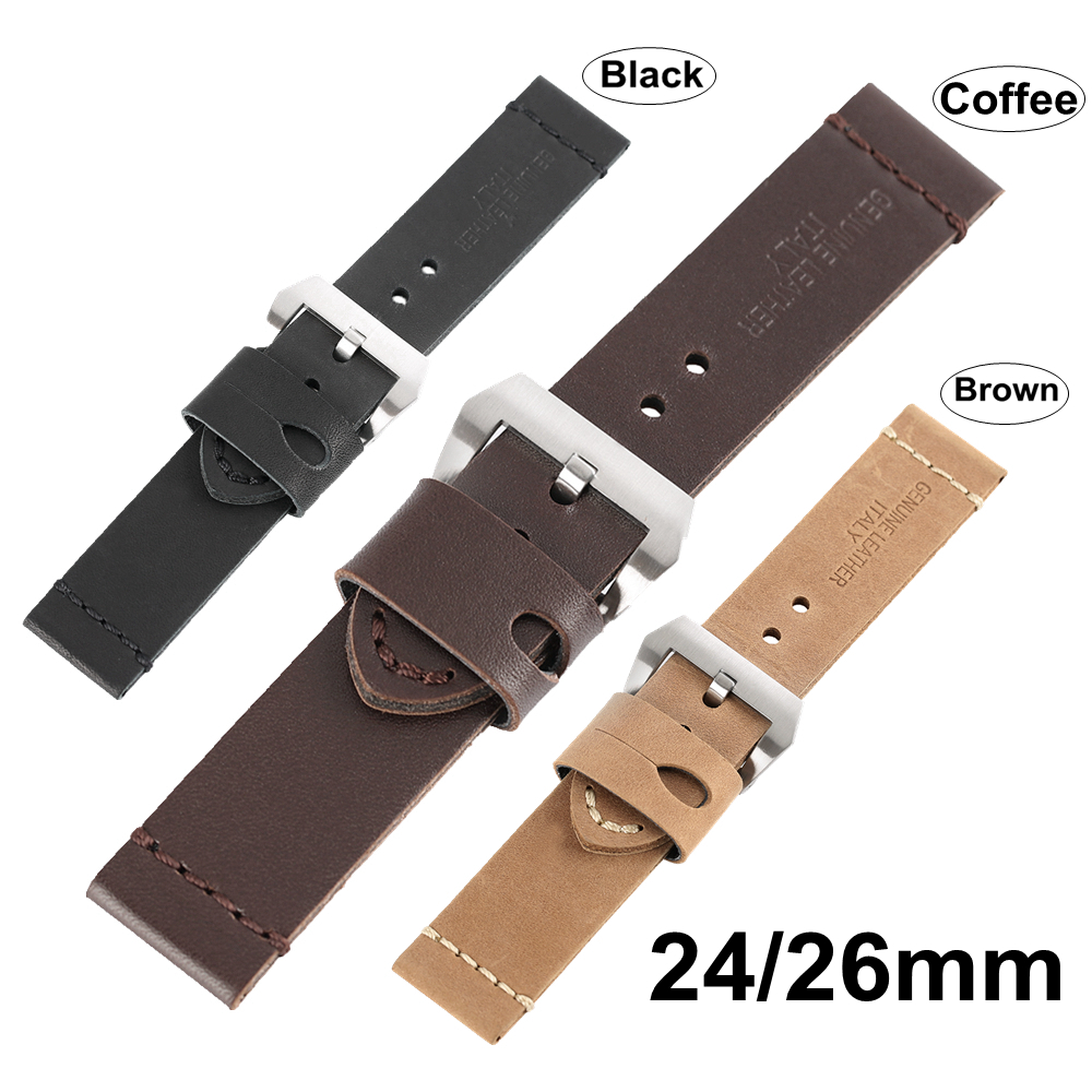 24mm 26mm Watchband Smooth Belt Genuine Leather Band Strap Men's Women's Wrist Watch Tool Replacement + 2 Spring Bars Pin Buckle croco genuine leather watchband 22mm tool for speedmaster globemaster replacement watch band butterfly buckle wrist strap black