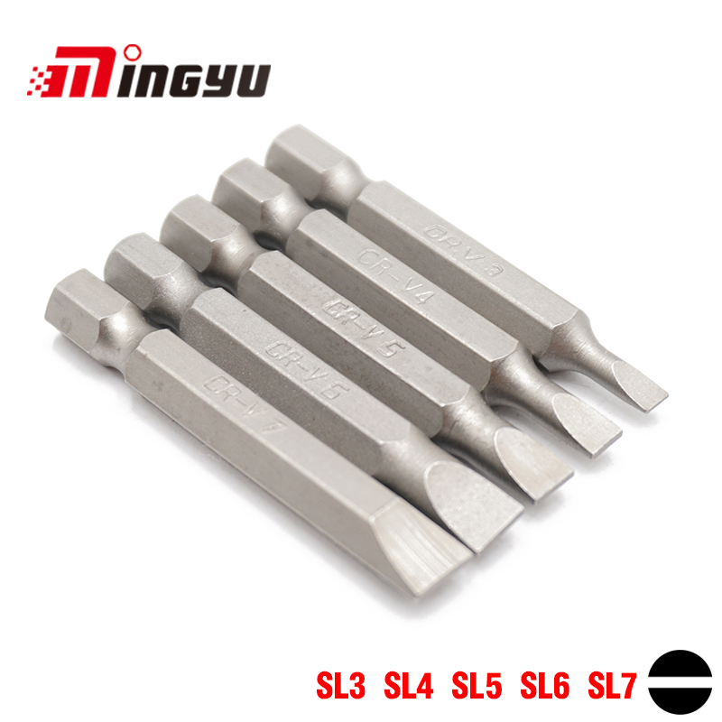 5pcs Set 50mm 3.0-7.0mm Flat Head Slotted Tip Screwdrivers Bit Set 1/4