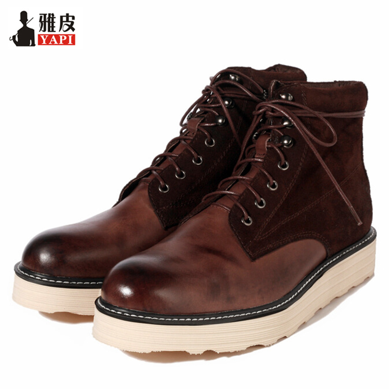 Retro Hight Quality Genuine Leather Mens Winter Boots Lace Up Warm Snow Boots Martin Boots Boys High-top Shoes stylish flower leaf ethnic pattern colored men s tie