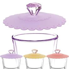 Новая многоразовая крышка для чашки, силиконовая крышка, герметичная, Пылезащитная, Алмазная крышка, креативная кружевная Крышка для чаши, безопасная, Нетоксичная