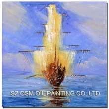Popular Art Boat Painting Home Decoration Abstract Handmade Blue Landscape Oil for Living Room Decor Seascape