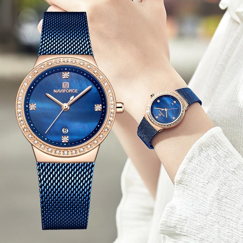 NAVIFORCE Women Luxury Quartz Watch Female Simple Rose Gold Blue Watches Ladies Fashion Waterproof Wrist Watch Gift For Women