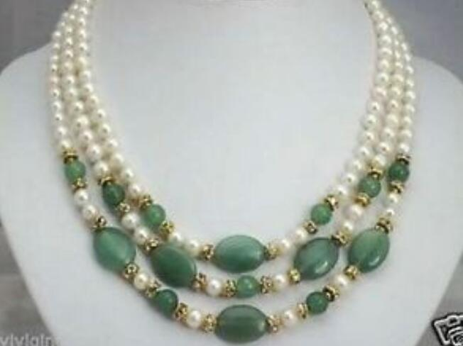 wholesale charming 3 rows 7 8mm white pearl and green jades necklace