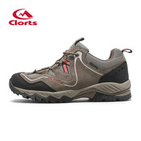Clorts Outdoor Shoes Men Real Leather Hiking Shoes Breathable Trekking Shoes Waterproof Climbing HKL 826A B