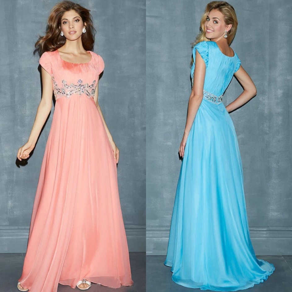 Ice Blue Coral Chiffon Scoop Long Modest Prom Dress With Short ...