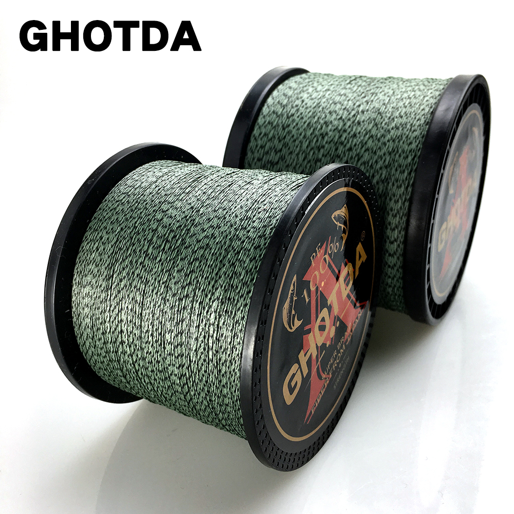 GHOTDA Camouflage Braided Fishing Line 100M 300M 500M 1000M 8 Strands Super Strong Multifilament Carp Fishing
