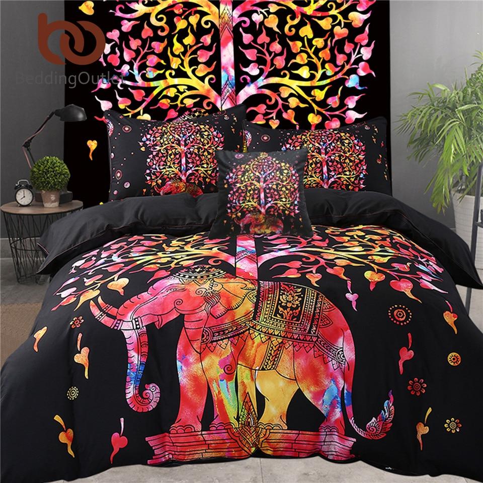 BeddingOutlet 5 pz Letto in un Sacchetto di Colore Elefante Set di Biancheria Da Letto Albero Modello Della Boemia Copriletto Letto Nero Della Copertura USA Formato