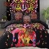 BeddingOutlet 5pcs Bed In A Bag Colored Elephant Bedding Set Tree Pattern Bohemia Bedspread Black Bed