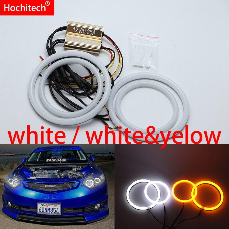 Pour Acura TSX 2009-2012 blanc et jaune coton LED Angel eyes kit halo anneau clignotant