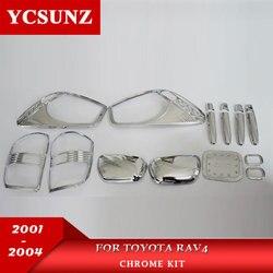 Akcesoria samochodowe ABS samochód stylizacji Chrome zestaw pełny zestaw dla TOYOTA RAV4 2001 2002 2003 2004