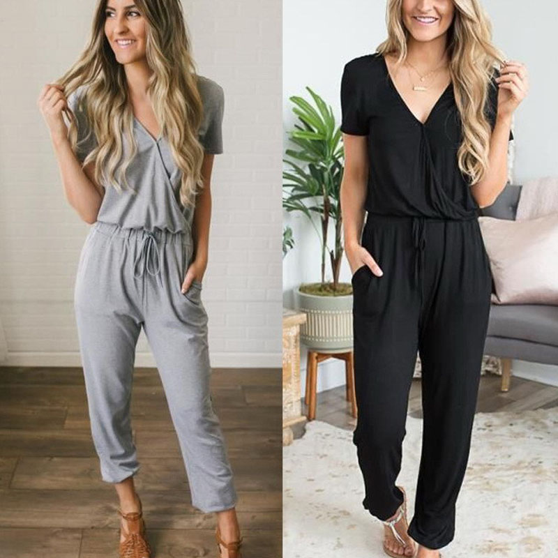 Sexy Short Sleeve Jumpsuit Women Long Romper 2020 Summer Lady Fashion Black Trousers Beach Jumpsuit Coveralls Sexy Female Frock