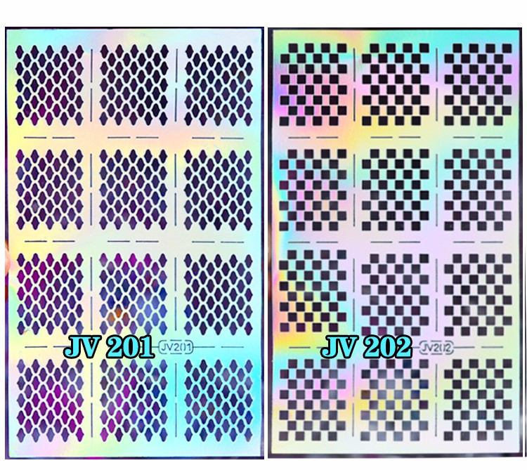 1sheet Silver Hollow Nail Art Template Stencil Stickers Fish Scale Vinyls Image Polish Design Guide Manicure Tools 3