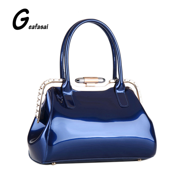 Blue Rose Red Las Glossy Light Patent Leather Boston Handbags Bags Hasp Diamond Metal Frame For