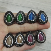 Trendy Jewelry Water Drop Blue Green Brown Purple Cat Eye Stone Charms With Black Rhinestone Earrings
