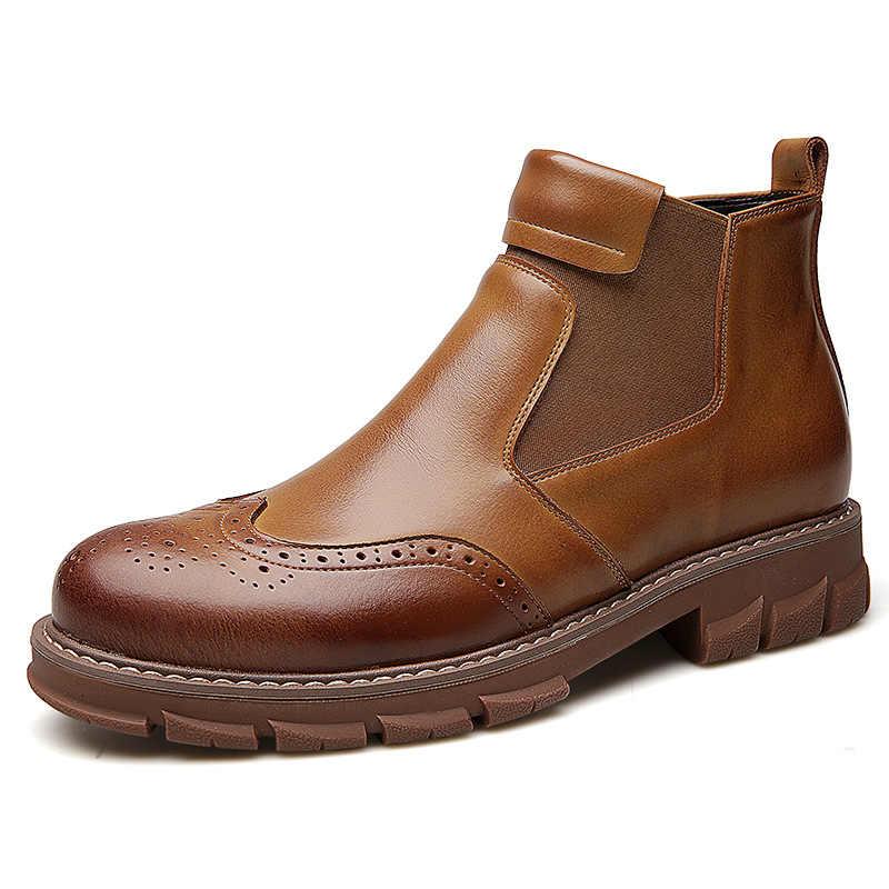 Artı kadife Haisum çizmeler erkek rahat sıcak pamuklu botlar Chelsea çizmeler deri çizmeler H-12630-1